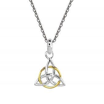 Arv Sterling Sølv Celtic Triangle Knude Guld Plade Vedhæng 92032GD