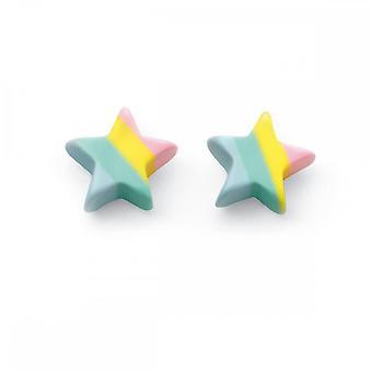 Inizio Sterling Argento Pastel Stripe Resin stella orecchini A2023