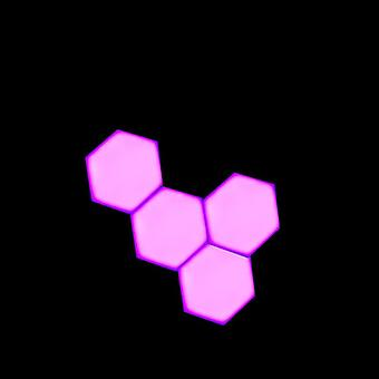 Purple Led Honeycomb Quantum Hexagon Wall Lamp With Touch Sensitive - Decorative Night Light