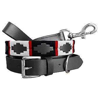 Carlos diaz genuine leather matching pair waxed embroidered polo dog collar and lead set cdplc55