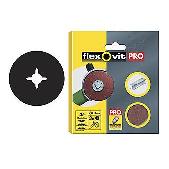 Flexovit Óxido de Óxido de Fibra de Alumínio Discos 125mm Médio 50g (Pacote de 3) FLV27537