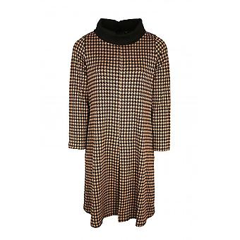 Latte Brown & Black Dog Tooth Design Long Sleeve Dress With Roll Collar