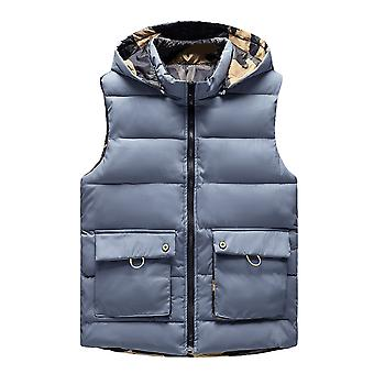 Allthemen Men's Casual Cotton Vest Solid Double-sided 4 Pockets Warm Winter