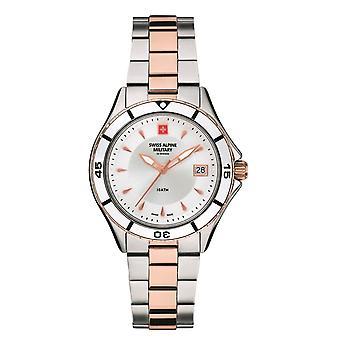 Sveitsin Alppien sotilaallinen naisten kello analoginen kvartsi 7740.1152SAM ruostumaton teräs