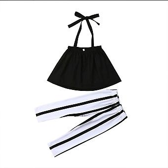 Girl Set Toddler Kids Baby Clothes Summer Strap Tops+stripes Pants Outfits Set