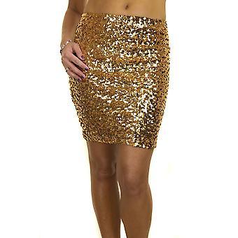 Women's Bodycon Sequin Skirt Ladies Party Club Sparkle Elasticated Stretch Pencil Mini Skirt 6-14