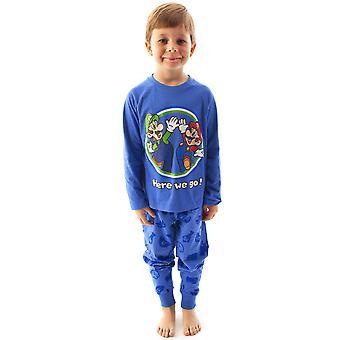 סופר מריו פיג'מה לואיג'י בנים שרוול ארוך ילדים כחול חולצת טריקו ומכנסיים PJ סט