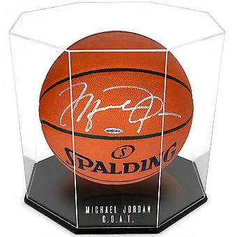OnDisplay Deluxe Octagon henkilökohtainen UV-suojattu koripallo / jalkapallo näyttökotelo - musta pohja