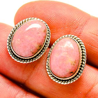 "Rhodonite Earrings 3/4"" (925 Sterling Silver)  - Handmade Boho Vintage Jewelry EARR409094"
