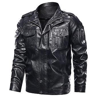 Chaqueta de cuero de hombre de moda, pecho militar grandes bolsillos, hombres cremallera motociclo