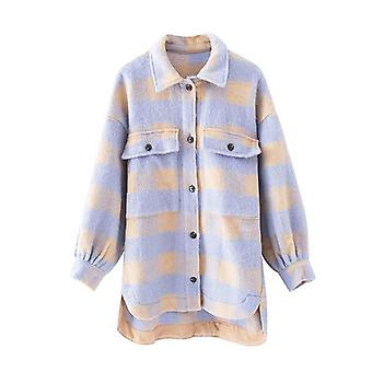 Fashion Overshirt Oversized Checked Wool Jacket Coat Female Outerwear Chic Tops