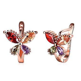 Rainbow Swarovski Butterfly Clip On Earrings