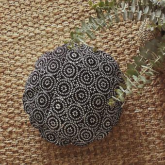 """Traditional Batik Decorative Round Pillow Cover 16"""" - In Dark Navy"""
