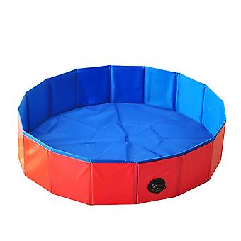 Foldable Dog Swimming Pool Pet Bath Collapsible Bathing Pool 30*10cm Red