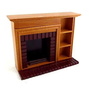 Dolls House Miniature Muebles Walnut Red Brick Fireplace Estantes