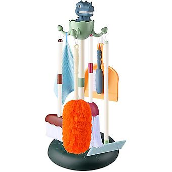 Kids Cleaning Set - 7 Pcs Pretend Play Toy with Dinosaur Stand, Detachable Kid-Sized Brush, Broom