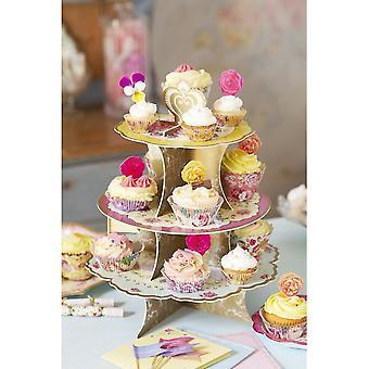 Alice in Wonderland Vintage Floral 3 Tier Cake Stand Wedding / Party