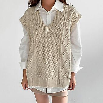 Women Simple All-match Style V-neck Knitted Sweater Leisure Student Sleeveless