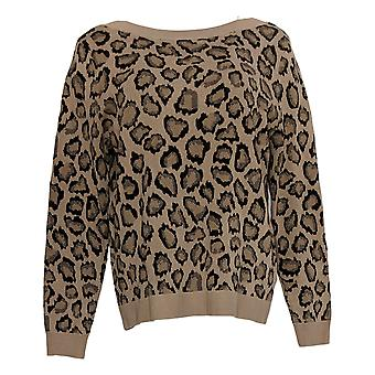 Rachel Hollis Ltd. Women's Sweater Leopard Pull-Over Brown A374148