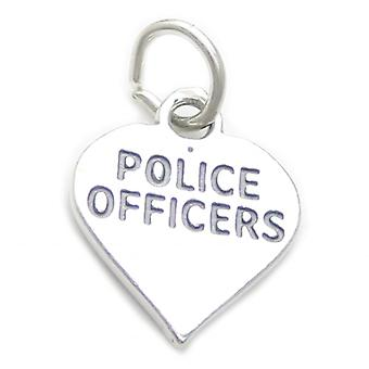 Police Officers Heart Sterling Silver Charm .925 X 1 Law Officer Charms - 4142