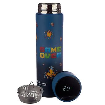 Puckator Game Over Stainless Steel Insulated Bottle With Digital Thermometer