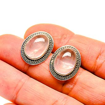 "Rose Quartz Earrings 3/4"" (925 Sterling Silver)  - Handmade Boho Vintage Jewelry EARR411129"