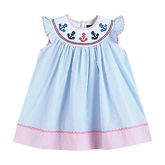 Striped Smocked Bishop Dress With Anchor Embroidery