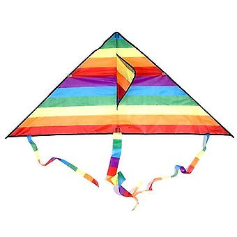Colorful Rainbow Kite Long Tail Polyester Outdoor Kites Flying Toy (a)