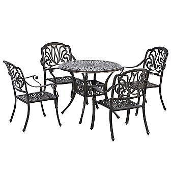 Outsunny 5-Piece Outdoor Furniture Dining Set, Cast Aluminum Conversation Set Includes 4 Chairs and Φ90cm Round Table with Φ50mm Umbrella Hole for Patio Garden Deck, Flower Design