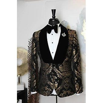 Costume Shawl Lapel Jacquard Dinner Party Groom Wear Men Wedding Suits