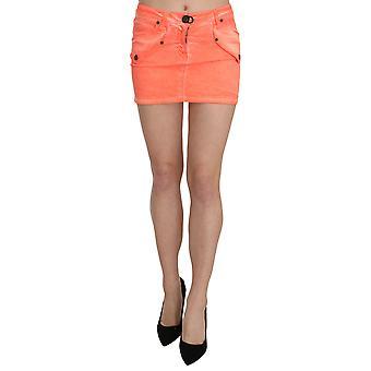 Orange Cotton Stretch Casual Mini Skirt
