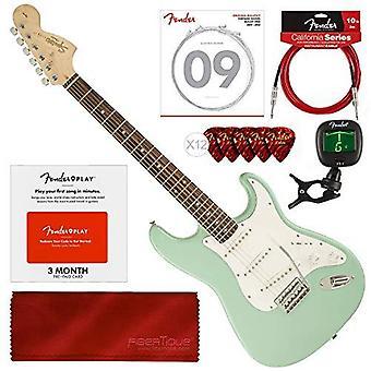 Squier av fender affinity stratocaster nybörjare elgitarr, surfgröna nybörjare bunt med fender spela förbetalt kort, strängar, ps92263