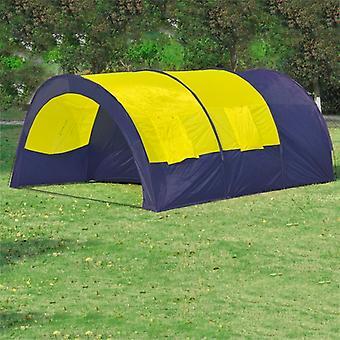 خيمة نفق خيمة خيمة الأسرة 6 الناس خيمة مجموعة الأزرق والأصفر