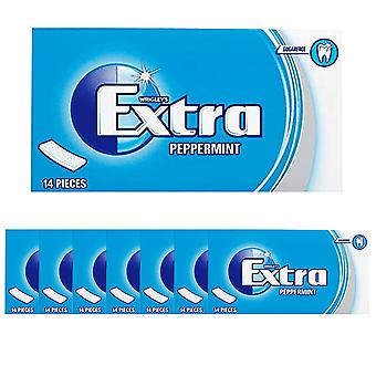 8 x 14 pieces Peppermint Chewing Bubble Gum Mint Flavour Sugar FREE Snack