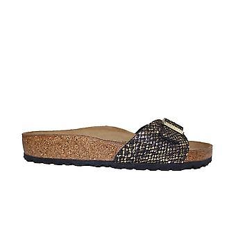 Birkenstock Madrid MF Python Black Womens Slip On Mule Sandals
