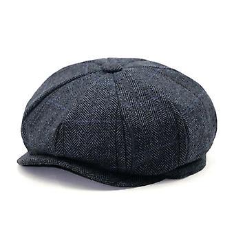 Buttermere Black Wool Cap, Men Herringbone Newsboy Cap