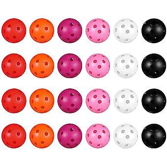 Gerui 24pcs Perforated Plastic Toy Golf Balls Hollow Golf Practice Training Sports Balls (Mixed