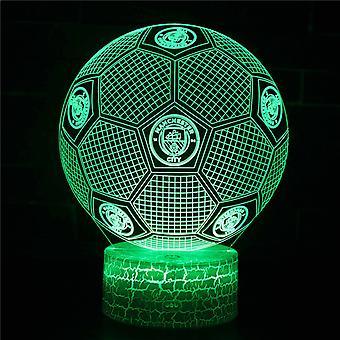 3D Optisk illusionslampa LED Nattljus, 7 färger Touch Sänglampa Sovrum Bord Art Deco Barn Nattljus med USB-kabel Nyhet Julklapp-Fotboll #399