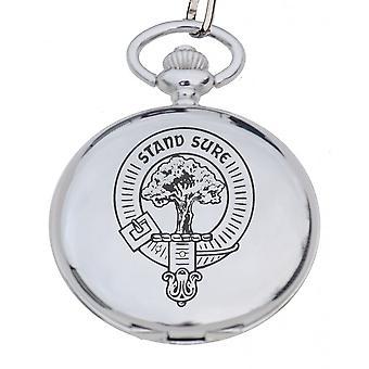 Art Pewter Clan Crest Pocket Watch Rose