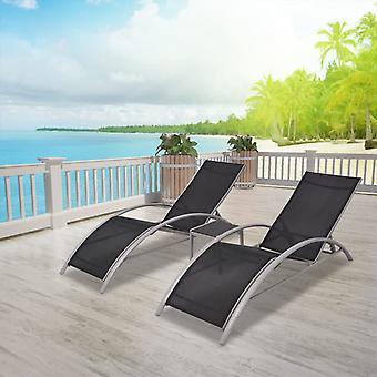 Sun Loungers With Table Aluminium Black