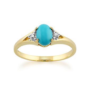 Gemondo 9ct желтого золота 0.66ct овальный бирюзовый & бриллиантовое кольцо