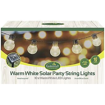 10 LED Solar Bulb Type Party String Lights, Warm White