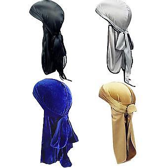 Wokex 2 geklebt Durag Samt und 2 fest silky soft Durag Mtze Herren Seide Kopftuch Kopftücher