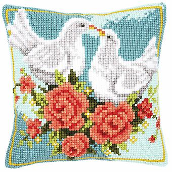 Vervaco Cross Stitch Kit: Coussin: Colombes blanches