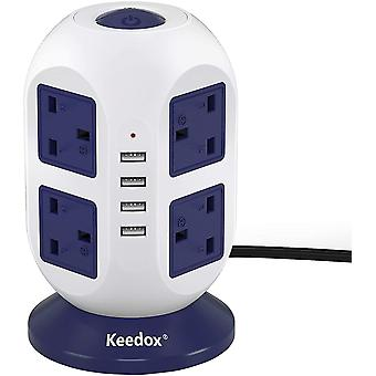 Gerui Keedox Power Strip Tower Surge Protector, 8 Outlet 4 USB Ports Electric Charging Station,