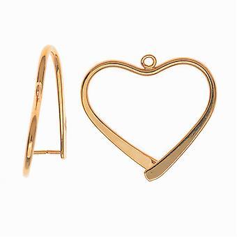 Pinch Bail for øreringe eller vedhæng, Hjerte formet, 26,5 mm, 2 stykker, forgyldt