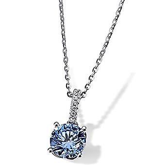 Guldflicka kvinnors halsband oxiderat silver runt Zirconia Cubica 45cm(1)
