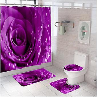 4-delige roze waterdichte polyester badkamergordijnset