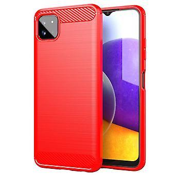 Tpu carbon fibre case for samsung a22 5g red mfkj-982