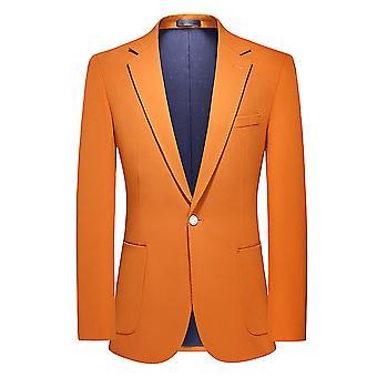 Allthemen Męskie Klasyczne Jednolity Kolor Jednorzędowy Jeden przycisk Pomarańczowa Marynarka